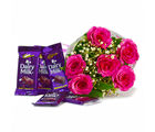 Giftacrossindia Bunch of Six Pink Roses with Cadbury Dairy Milk Chocolate Bars (GAIMPHD0122), 1000 gms