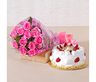Giftacrossindia Twelve Pink Roses and Strawberry Cake for any Occasion (GAIMPHD0515), 1000 gms