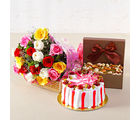 Giftacrossindia Colorful Roses with Half Kg Strawberry Cake and Assorted Dryfruits Combo (GAIMPHD0378), 1000 gms