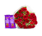 Giftacrossindia Bunch of 20 Red Roses with Mouthmelting Cadbury Fruit and Nut Chocolate Bars (GAIMPHD0142), 1000 gms