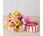 Giftacrossindia Fresh Cream Strawberry Cake with Bouquet of Exotic Flowers (GAIMPHD0316), 1000 gms