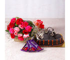 Giftacrossindia Bouquet of Roses and Carnations with Heartshape Cake and Cadbury Chocolates (GAIMPHD0588), 1000 gms