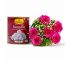 Giftacrossindia Bouquet of Six Pink Roses with Mouthwatering Rasgullas (GAIMPHD0406), 1000 gms