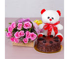 Giftacrossindia Choco Chips Cake with Teddy Bear and Pink Roses Bouquet (GAIMPHD0340), 1000 gms
