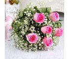 Giftacrossindia Hand Tied Bunch of Fresh Six Pink Roses (GAIMPHD0021), 1000 gms