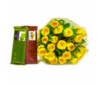 Giftacrossindia Hand Tied Bunch of Yellow Roses with Cadbury Temptation Chocolates (GAIMPHD0150), 1000 gms
