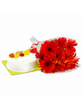 Giftacrossindia Red Gerberas Hand Tied Bunch With ...
