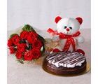 Giftacrossindia Bunch of Red Roses with Teddy Bear and White Cream Chocolate Cake (GAIMPHD0326), 1000 gms