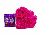 Giftacrossindia Perfect Pink Carnations Bouquet and Cadbury Dairy Milk Fruit N Nut Chocolate Bars (GAIMPHD0180), 1000 gms