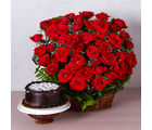 Giftacrossindia Basket Arrangement of Fifty Red Roses with Chocolate Cake (GAIMPHD0343), 1000 gms