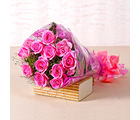 Giftacrossindia Bunch of Twelve Pink Roses (GAIMPHD0004), 1000 gms