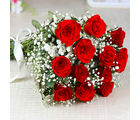 Giftacrossindia Hand Tied Bunch of Dozen Red Roses (GAIMPHD0039), 1000 gms