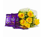 Giftacrossindia Bunch of 6 Yellow Roses with Cadbury Dairy Milk Chocolate Bars (GAIMPHD0112), 1000 gms