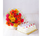 Giftacrossindia Pineapple Cake with Beautiful Mix Flowers Bouquet (GAIMPHD0314), 1000 gms