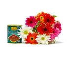 Giftacrossindia Bouquet of Mix Ten Gerberas with Gulab Jamuns (GAIMPHD0380), 1000 gms