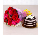 Giftacrossindia Bouquet of Red Roses and Pink Carnation with Chocolate cake (GAIMPHD0344), 1000 gms