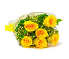 Giftacrossindia Six Stem of Yellow Roses Bouquet (GAIMPHD0050), 1000 gms