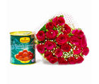 Giftacrossindia Twenty Romantic Red Roses with Tempting Gulab Jamuns (GAIMPHD0423), 1000 gms