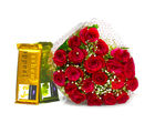 Giftacrossindia Hand Tied Bunch of Red Roses and Bars of Cadbury Temptation Chocolate (GAIMPHD0143), 1000 gms
