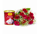 Giftacrossindia One Kg Rasgullas with Bouquet of 10 Red Roses (GAIMPHD0462), 1000 gms