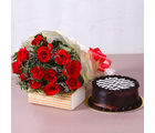Giftacrossindia Twelve Red Roses Bunch with Yummy Chocolate Cake (GAIMPHD0335), 1000 gms