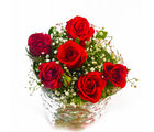 Giftacrossindia Fresh Six Red Roses Hand Bunch (GAIMPHD0534), 1000 gms