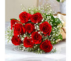 Giftacrossindia Ten Romantic Red Roses Bouquet (GAIMPHD0040), 1000 gms