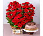 Giftacrossindia Romantic Treat of Cake, Roses and Chocolates (GAIMPHD0592), 1000 gms