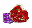 Giftacrossindia Bunch of Twenty Red Roses with Five Cadbury Dairy Milk Chocolate Bars (GAIMPHD0190), 1000 gms