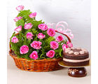 Giftacrossindia Basket Arrangement of 18 Pink Roses with Fresh Cream Chocolate Cake (GAIMPHD0593), 1000 gms