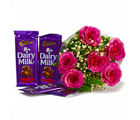 Giftacrossindia Bouquet of 6 Pink Roses of with Assorted Bars of Cadbury Chocolates (GAIMPHD0125), 1000 gms