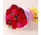 Giftacrossindia Bouquet of Red Roses and Pink Carnations (GAIMPHD0079), 1000 gms