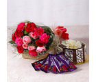 Giftacrossindia Roses and Carnations with Chocolate Cake and Cadbury Bars (GAIMPHD0332), 1000 gms
