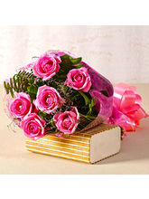 Giftacrossindia Lovely Six Pink Roses Bouquet With...