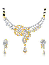 Sukkhi Burnished Gold And Rhodium Plated CZ Mangalasutra Set For Women (14159MSCZAK1650)