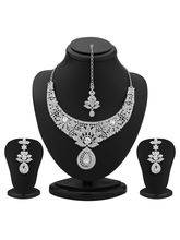 Sukkhi Modern Rhodium Plated Australian Diamond Necklace Set (2097NADM1800)