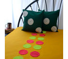 Chungi Crochet Work Bed Cover With Two Cushion Covers, yellow and green