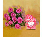 Primo Gifts Charming Pink Blooms with Greeting Card