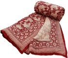 Halowishes Leafy & Hand Block Print Reversible Jaipuri Single Bed Quilt
