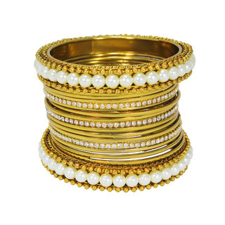 Graceful Gold Tone Bangles Set Adorned With Pearl ...