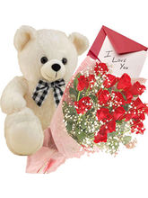 Flora Online Valentine Gift - Roses with Teddy