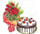 Flora Online Red Roses With Blackforest Cake