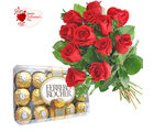 Flora Online Valentine Gift - Red Roses with Rocher