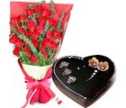 Flora Online Roses With Heart Shape Cake