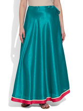 Very Me Faux Silk Plain Skirt (W-FPS-2403), 36, turquoise