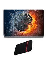 Skin Yard Cool Fire Digital Meter Laptop Skin with USB LED & OTG Cable, 14.1 inch