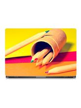 Skin Yard Wooden Pencil With Colour Tip Sparkle Laptop Skin With Laptop Sleeve, 14.1 inch