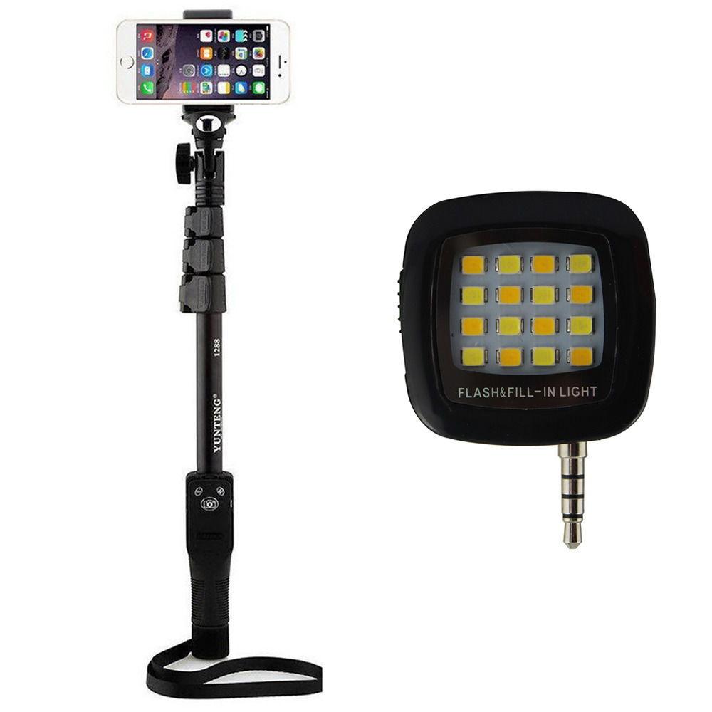 buy shopizone yunteng 1288 bluetooth selfie stick with selfie flash light onl. Black Bedroom Furniture Sets. Home Design Ideas